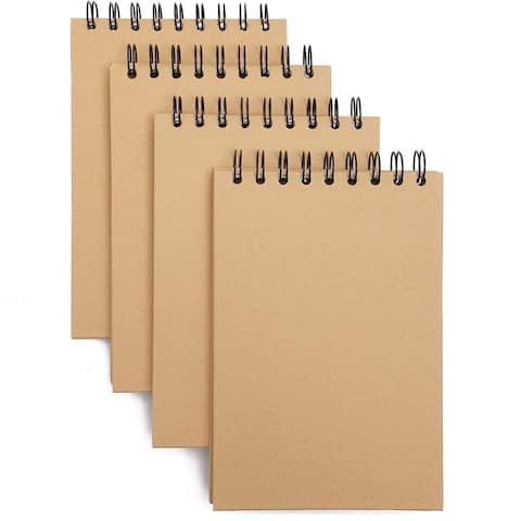 """4Pack Travel Journal with Kraft Brown Cover Notepads Notebooks Memo Pad, 7.8x5"""""""
