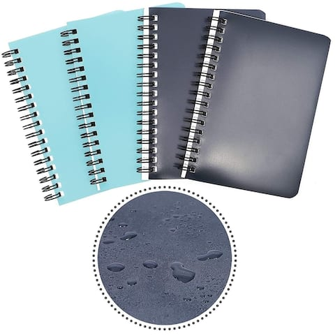 4 Pack Spiral Bound Weatherproof College Ruled Notepads Notebooks Memo Pad Books Lined Paper, 4 x 6 Inches, 50 Sheets Per Book