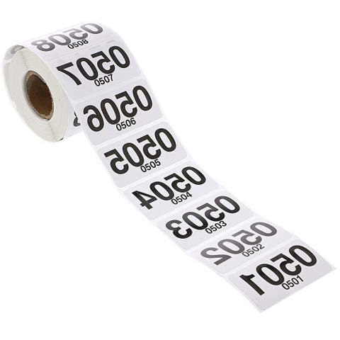 500x Reverse Number Stickers for Live Sale, Consecutive 501-1000, 2 x 1 inches