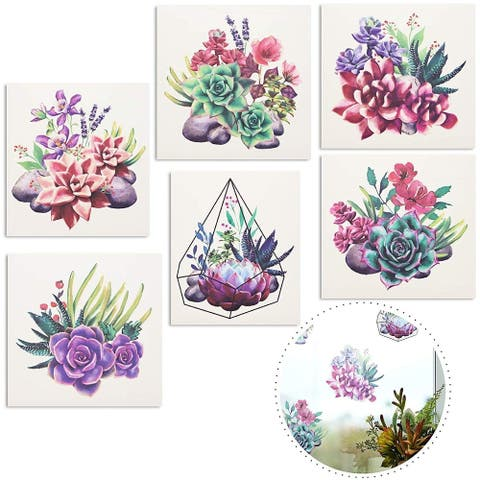 6x Succulent Glass Door & Window Decal Sticker for Home Decoration, 6 x 5 inches