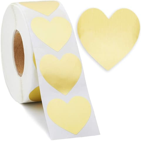 1000x Gold Foil Heart Sticker Labels for Valentines Day, Cards, Crafts, 1.5 inch