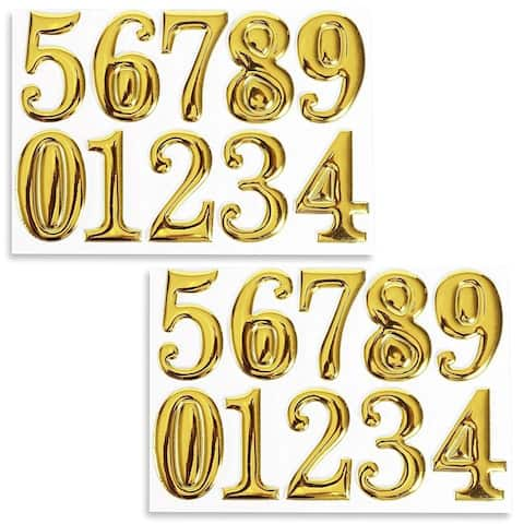 Set of 2 Self-Adhesive House Apartment Number Stickers, Gold, 2 x 1.2 x 0.1 inch