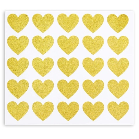 250x Gold Glitter Heart Stickers for Valentines Day, Invitations, Wedding, 1 in.