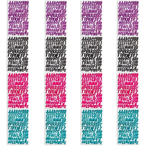 16 Sheets Alphabet A to Z Stickers for Kids, DIY Craft Scrapbook, 1 in, 4 Colors