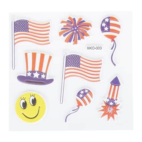 240x Patriotic American USA Memorabilia Flag Silicone Sticker Set, 1 to 1.8 inch