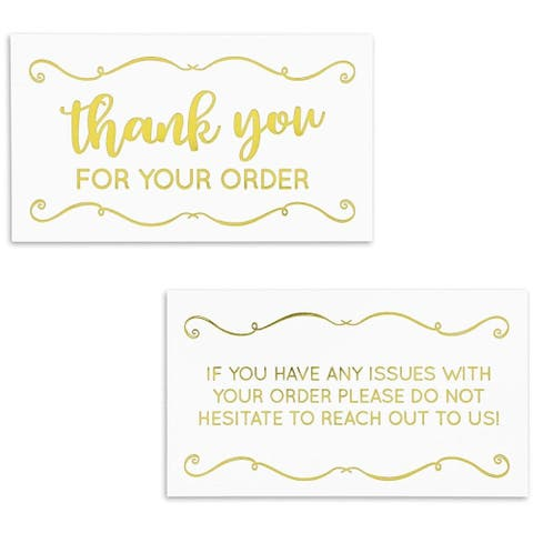 200x Thank You for Your Order Purchase Cards Notes Notecards Gold Foil 3.5 x 2""