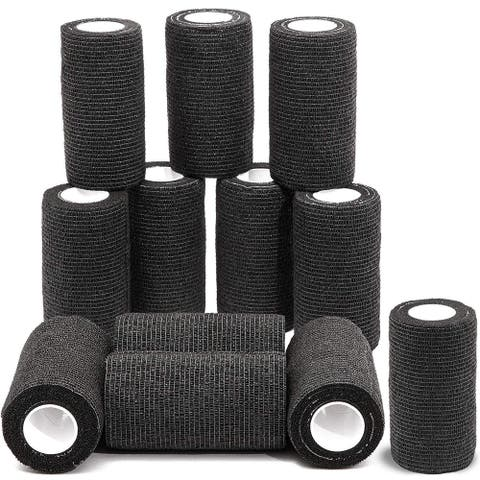 12 Pack 5ft Cohesive Bandage Wrap Self Adherent Tape for Sports Vet Wrap Black - 12 Pack