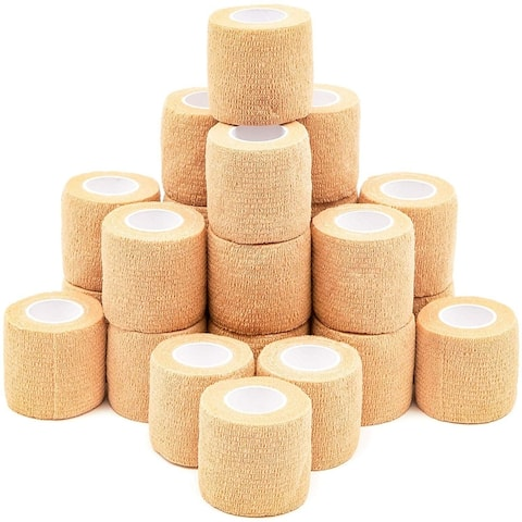 24 Pack Tan 5ft Cohesive Bandage Wrap Self Adherent Tape for Dogs Pets Vet Wrap - 24 Pack