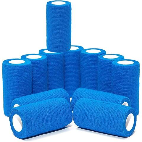 12 Pack 5ft Cohesive Bandage Wrap Self Adherent Tape Vet Wrap for Dogs Animals - 12 Pack