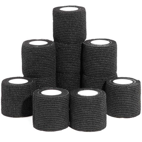 12 Pack 5ft Cohesive Bandage Wrap Self Adherent Tape for Dogs Vet Wrap Black - 12 Pack