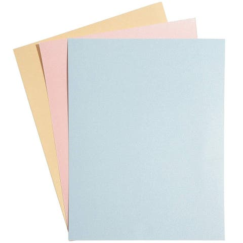 96 Pack Beige, Pink, Blue Shimmer Metallic Cardstock Paper Crafts 8.5x11in