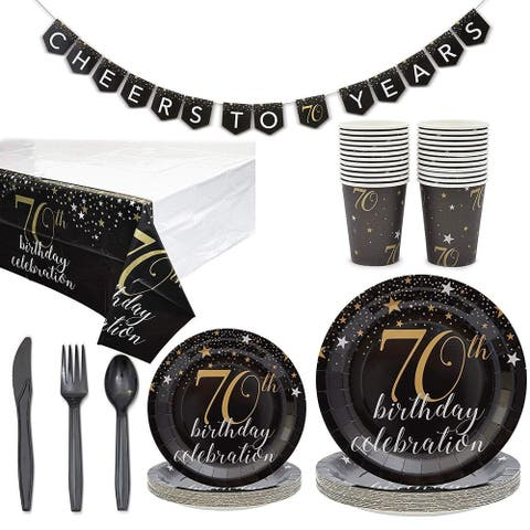 Serves 24 70th Birthday Party Supplies and Decorations Tableware for Men Women