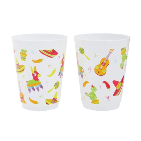 16x Plastic 16 oz Party Cups Fiesta Reusable Tumblers for Kids Boys Girls
