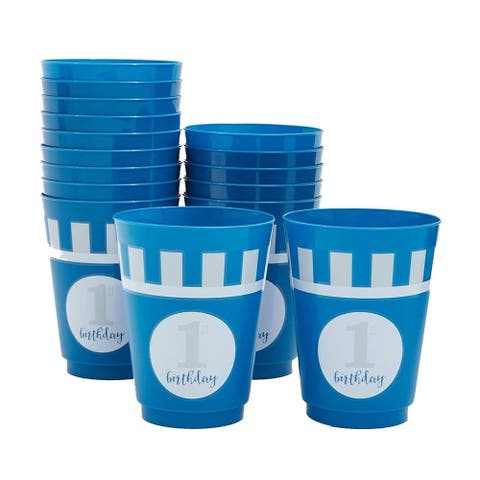 16x Plastic 16 oz Party Cups 1st Birthday Reusable Tumblers for Kids Boys