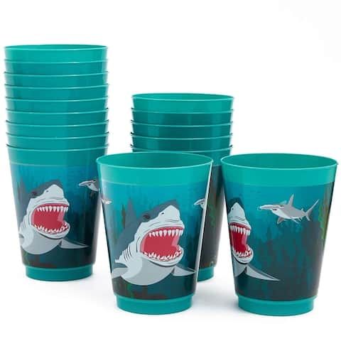 16x Plastic 16 oz Party Cups Shark Theme Reusable Tumblers for Kids Birthday
