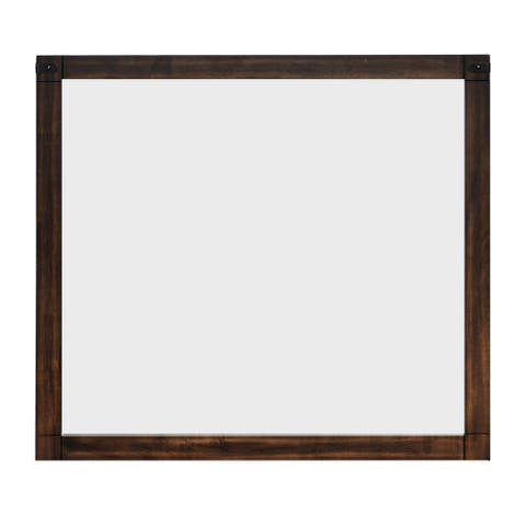 Rectangular Wooden Dresser Top Mirror with Metal Brackets, Brown and Silver