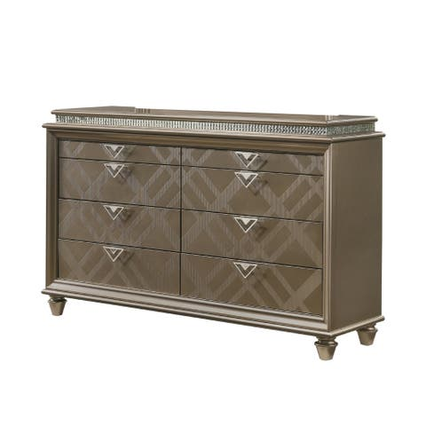 8 Drawers Wooden Dresser with Crystal Inlay and V Pulls, Brown and Silver