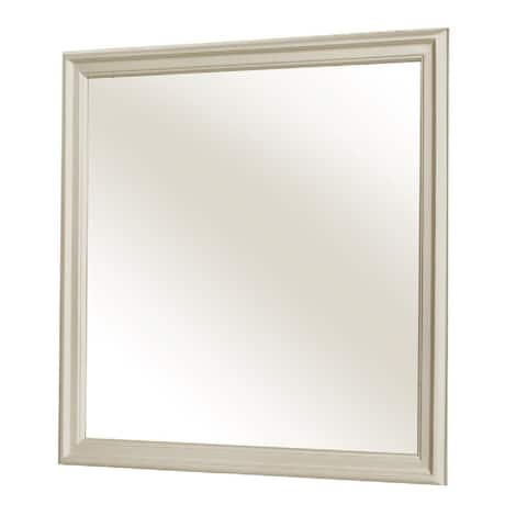 Molded Wooden Frame Dresser Top Mirror, Champagne Silver