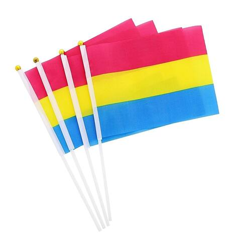 60x Pansexual Handheld Pride Flags for LGBTQ Party Parades Events, 8.3 x 5.5 in.
