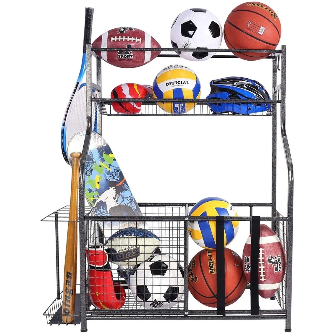 Made of Sturdy Iron Black 2 Racks ANTOPY Sports Equipment Storage Rack Garage Ball Storage Rack Wall Mount Sports Gear Organizer with Hooks Basketball Football Holder Shelf Adjustable Rod