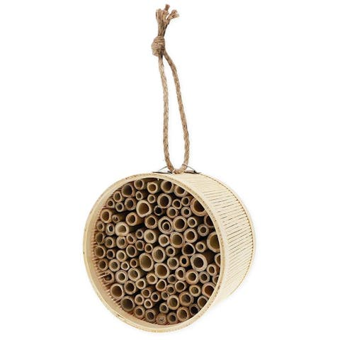 Natural Bamboo Mason Bee Hive House, Attracts Pollinators, 5.9 x 3.9 inch