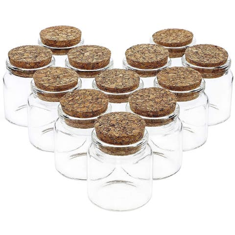 12 Pack Small Glass with Cork Bottles 50ml for Wedding Favors Candy DIY Crafts Decorations