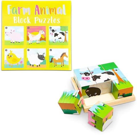 Wood Farm Animal Block Puzzles with Tray for Toddlers Kids (6 in 1), 6 Designs