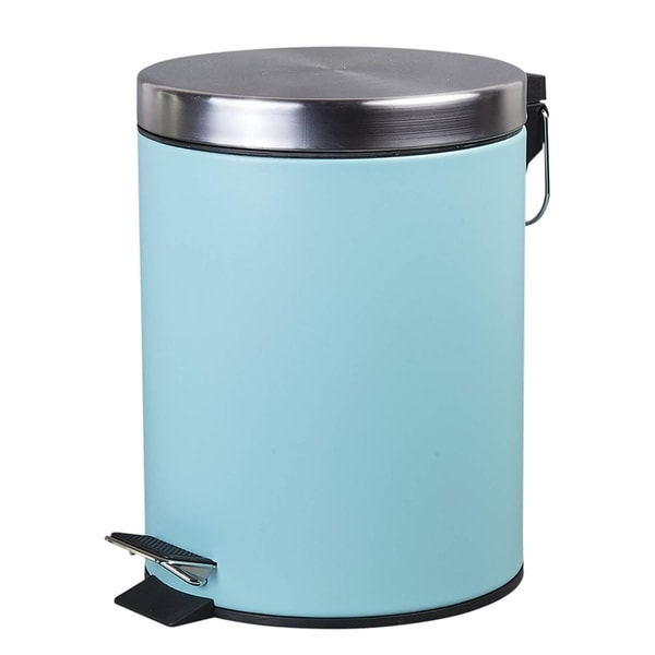 Creative Home 5 Liter Stainless Steel Round Shaped Step Trash Can, Aqua. Opens flyout.