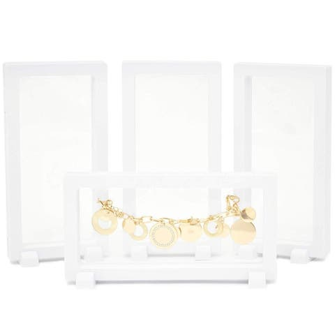 Set of 4 White Floating Frame Display Holder Stands for Medallions Jewelry Coin