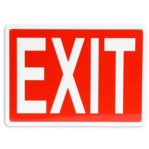 """Aluminum Durable Rust Free Exit Sign 10"""" x 14"""" for Indoor and Outdoor Home Office"""