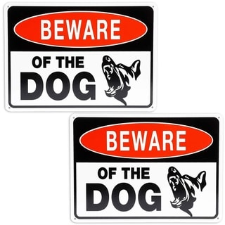 "Link to 2 Pack Beware of Dog Aluminum Durable Sign 10"" x 7"" for Indoor and Outdoor Garden Similar Items in Badges, Names & Signs"