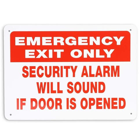 """2 Pack Emergency Exit Only Aluminum Warning Sign 10""""x 7"""" for Indoor & Outdoor Use"""