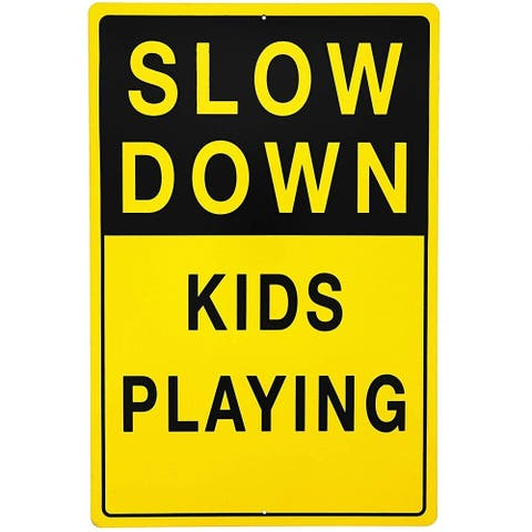 """Slow Down Kids Playing Reflective Sign 12"""" x 18"""" for School Playground Daycare Street"""