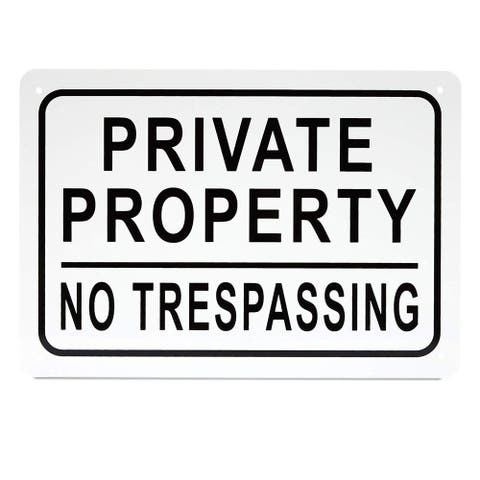"""3 Pack Private Property No Trespassing Aluminium Sign 10"""" x 7"""" for Indoor Outdoor Use"""