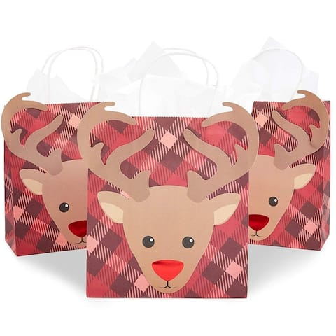 15-Pack Christmas Paper Gift Bags with Handles and Tissue Papers for Parties, Reindeer Plaid, Red And Brown