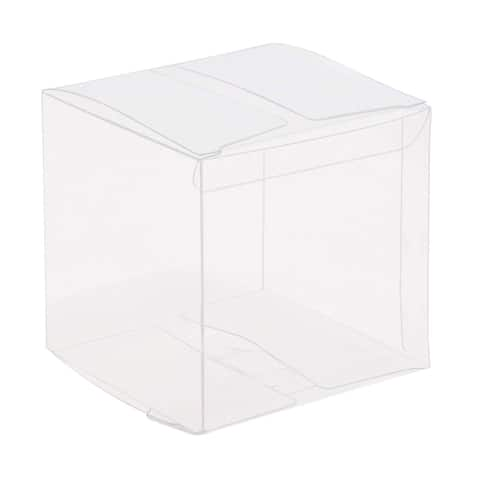 50x Clear Plastic Gift Boxes for Party Favors Weddings Cookies Cupcakes 2""