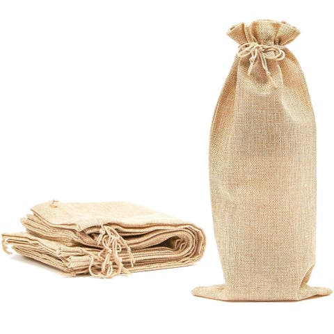 12 Pack Burlap Wine Bottle Gift Bags with Jute Drawstring, Beige, 6 x 14 inch