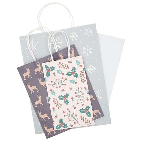 24x Christmas Gift Bags with Handles and Tissue Paper for Parties, Assorted Sizes, 3 Designs Reindeer Snowflakes Mistletoe