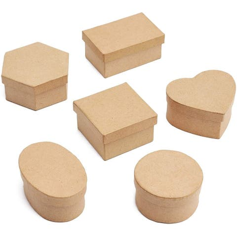 6x Mini Paper Mache Gift Boxes with Lids Kraft for Storage Birthday Wedding