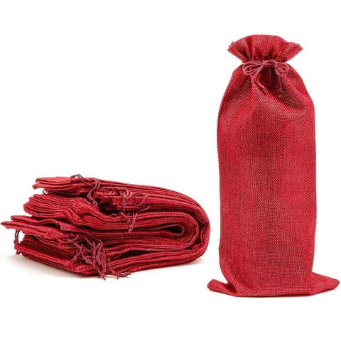 12 Pack Burlap Wine Bottle Gift Bags with Jute Drawstring, Red, 6 x 14 inch