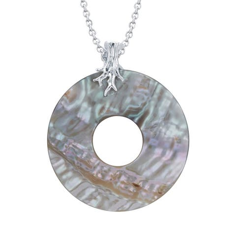 """V3 Jewelry 925 Sterling Silver with Round Shape Abalone Shell Circle Pendant with 18"""" Chain for Women"""