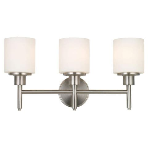 3-Bulb Vanity Light Bright Satin Nickel Finish With White Glass Sconce