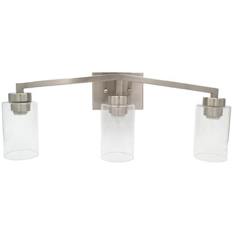 3-Bulb Vanity Light Bright Satin Nickel, Textured Glass Sconce Shades