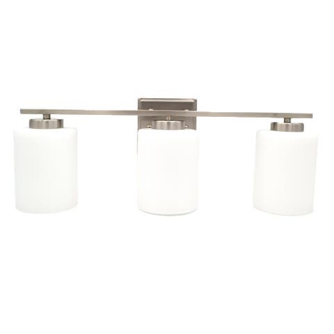 3-Bulb Vanity Light Bright Satin Nickel and White Glass Sconce Shades