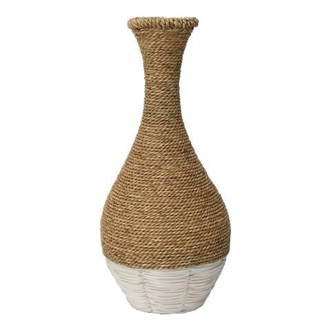 Stratton Home Decor Tan and White Woven Rattan Vase - 9.80 X 9.80 X 21.25