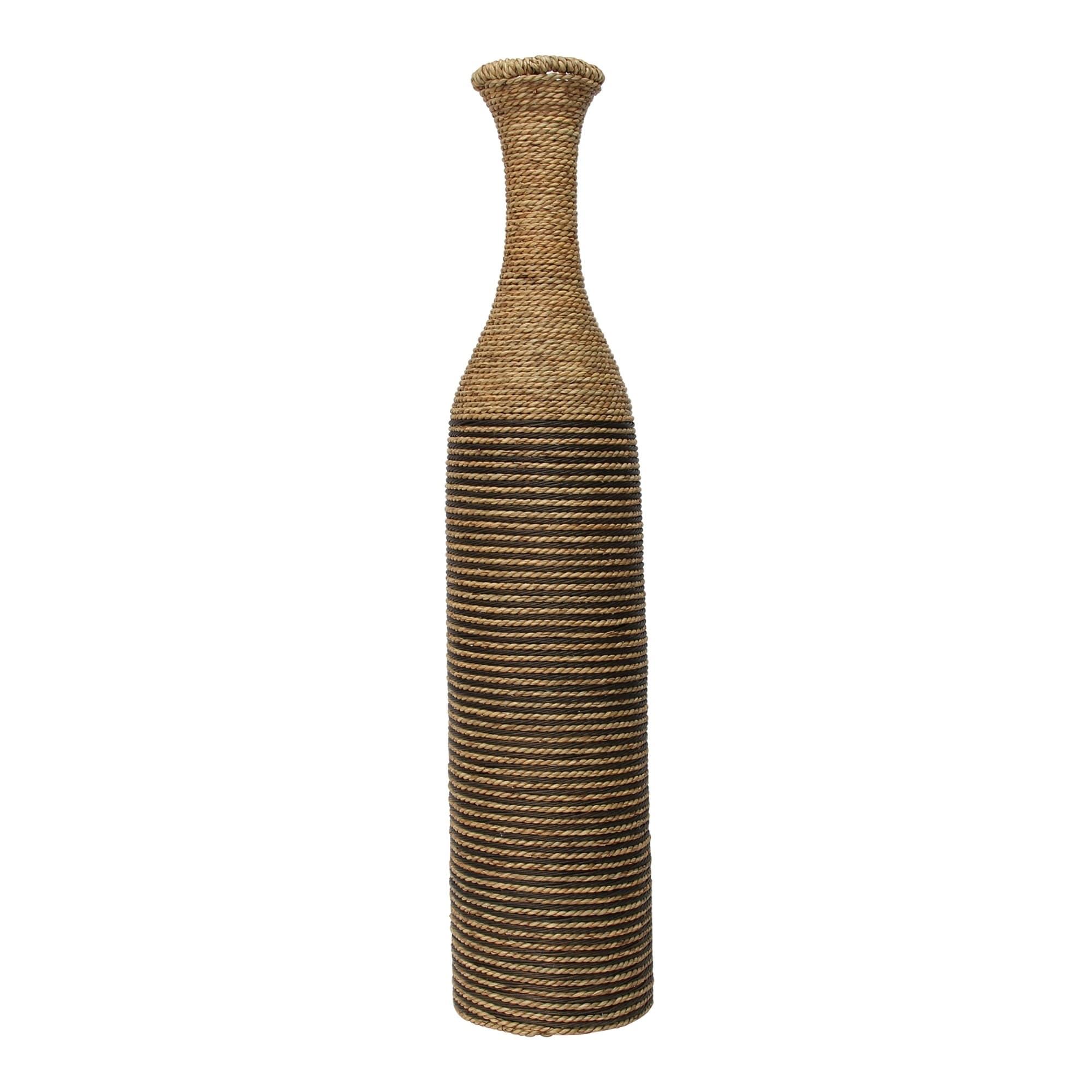 Shop Stratton Home Decor Tall Woven Rattan Floor Vase 7 50 X 7 50 X 36 00 On Sale Overstock 31103675