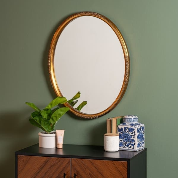 Shop Peeney Bathroom Wall Accent Mirror Traditional Oval Antique Gold On Sale Overstock 31103676