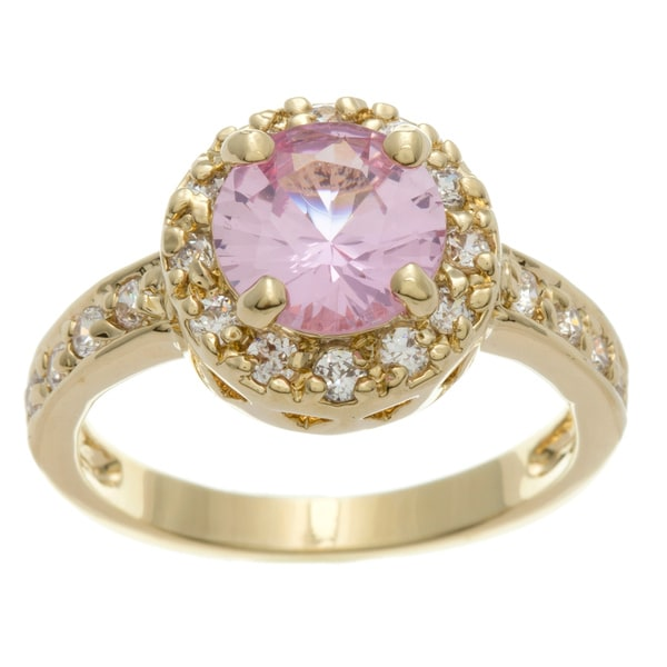 Simon Frank Yellow Gold Overlay Pink Halo Set Ring