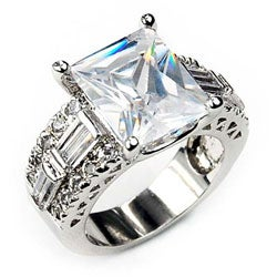 Simon Frank 14k Gold Overlay Clear Emerald-cut Solitaire CZ Ring