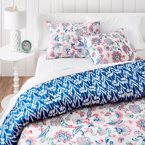 Martha Stewart Hampton Floral 3 Piece Duvet Cover Set
